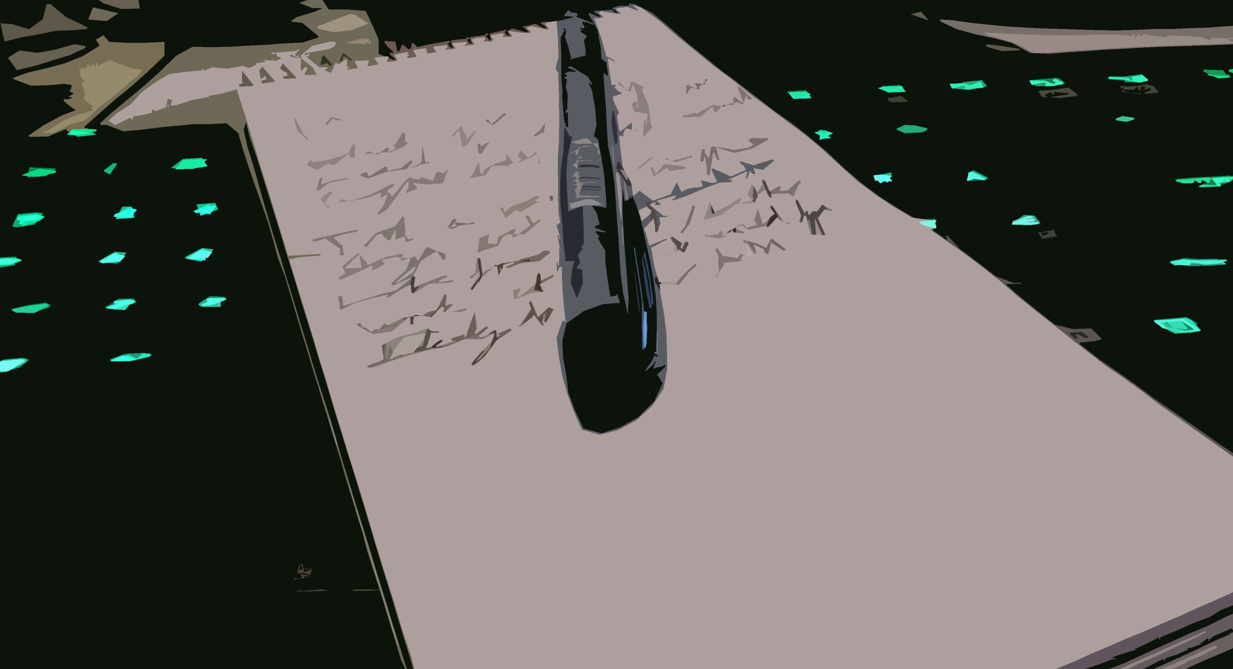 Notebook on keyboard, photographed and edited by Fredrik Walløe